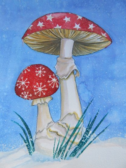 Christmas cards with mushrooms